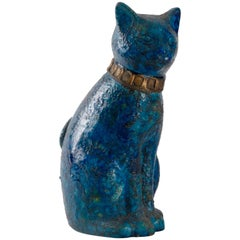 Bitossi Londi Designed 'Cinese' Glaze Sitting Cat, circa 1968