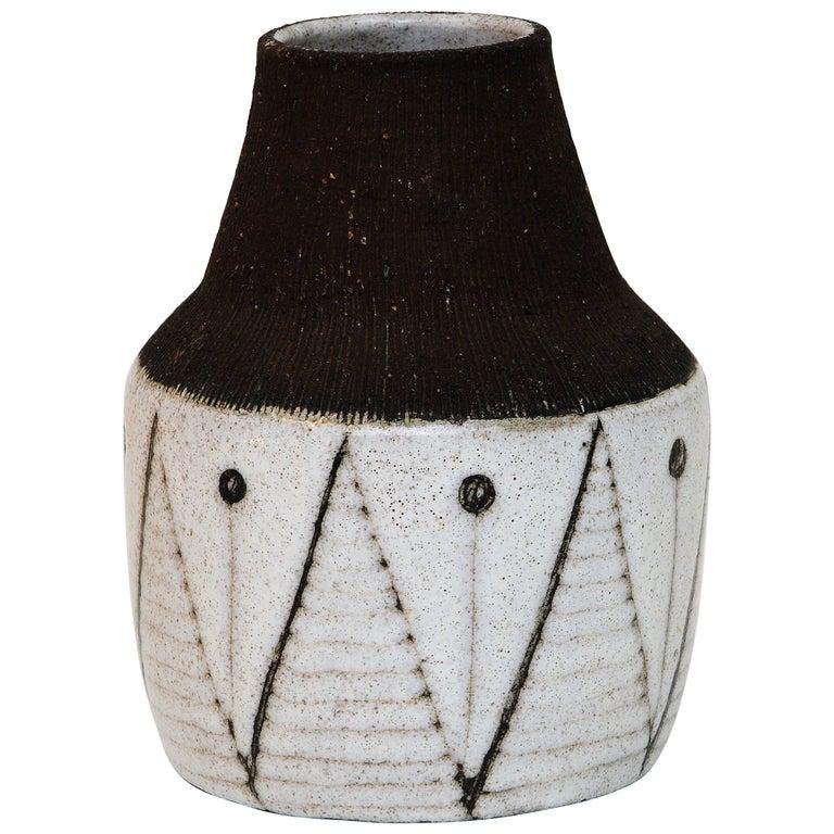Cheramic Vase with Geometric Décor by Rolf Hansen, Norway
