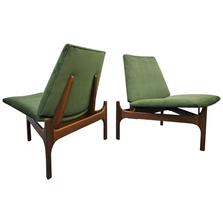 Pair of Midcentury Sculptural Lounge Chairs by John Caldwell for Brown Saltman