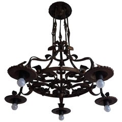 Good Size & Hand-Forged Arts & Crafts Wrought Iron Light Fixture or Chandelier