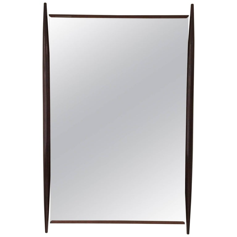 Large and Elegant Dark Wood Mirror, circa 1950, Italy