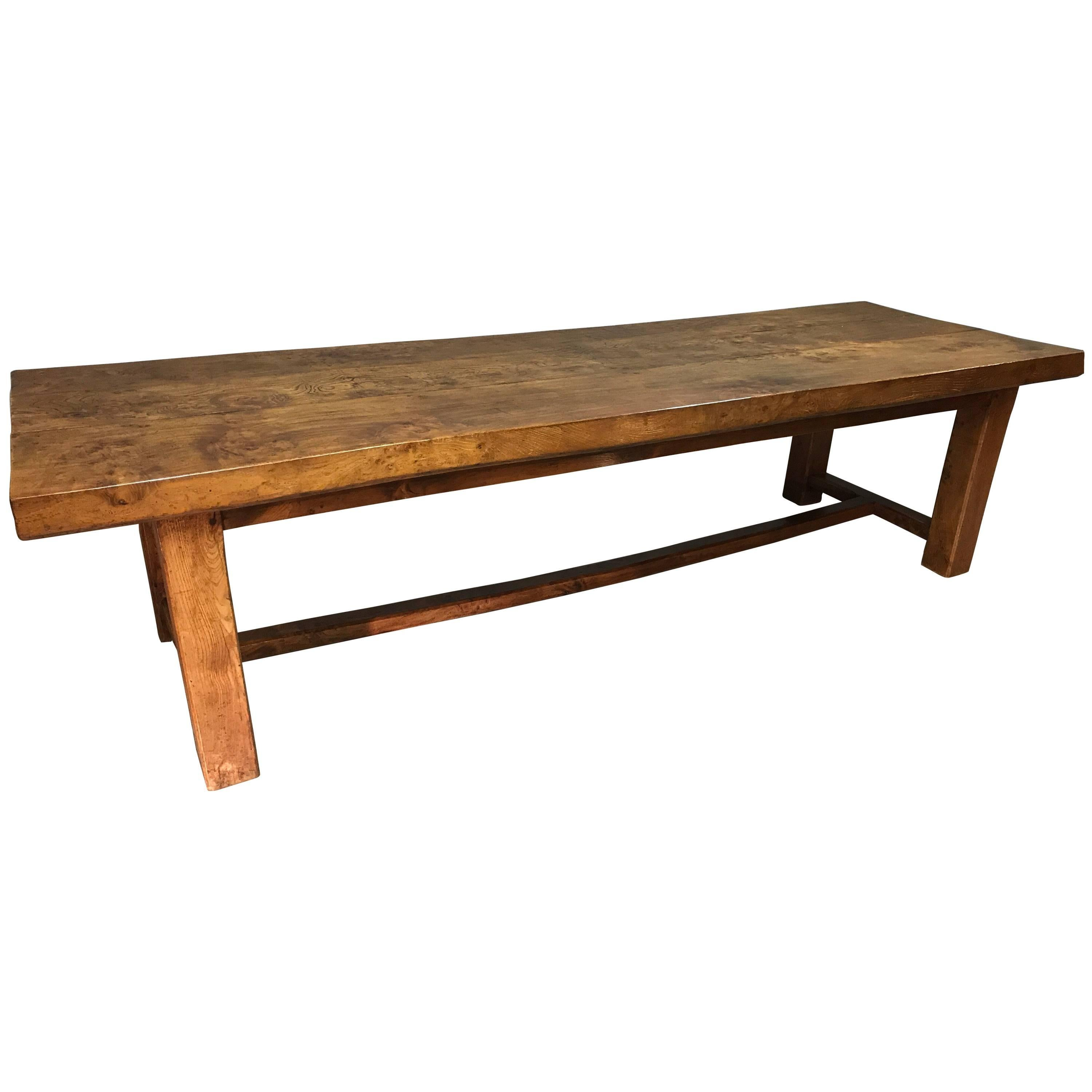 Late 19th Century Exceptionally Large Elm French Farmhouse Table