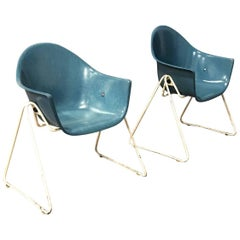 Set of Fiberglass Children Chairs with Metal Base, circa 1960
