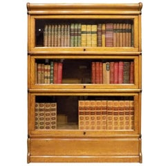 Oak Edwardian Three Stacking Bookcase by Globe Wernicke