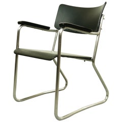 Mauser Streamline Armchair, Bauhaus Style, black and chrome, Germany