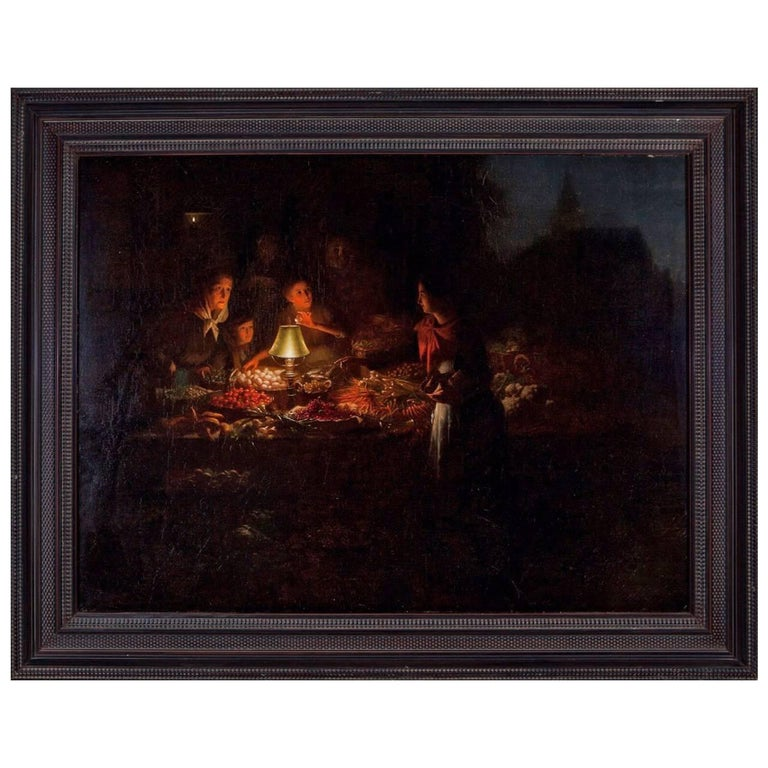Johannes Rosierse Attributed Dutch Oil Painting of a Night Market For Sale
