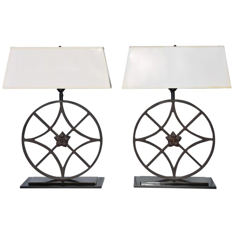 Pair of Wrought Iron Lamps For Sale
