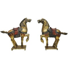 Large Pair of Carved Wooden Tang Horses