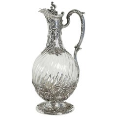 """Victor Boivin French Sterling and Crystal """"Aiguière"""" Claret Jug, circa 1880"""