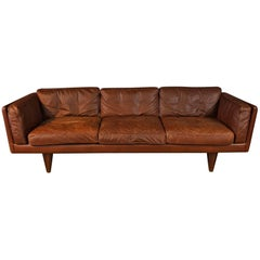 "Rare Illum Wikkelsø Three-Seat Sofa ""V11"" in Brown Leather"