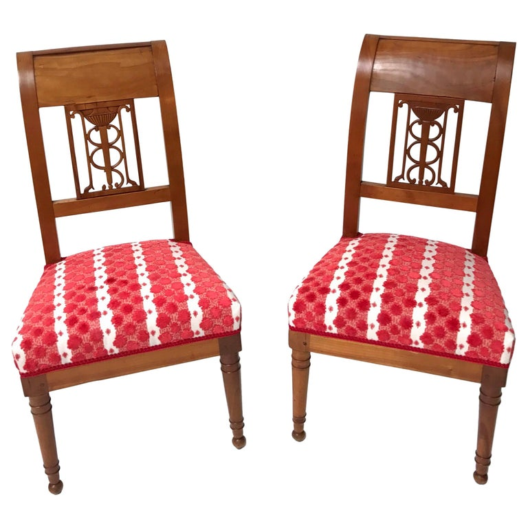 Pair of Late Directoire Cherrywood Side Chairs