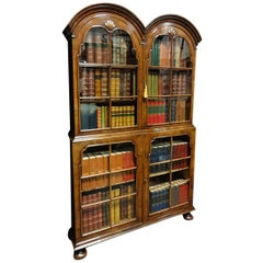 Very Good Queen Anne Walnut Double Domed Topped Bookcase