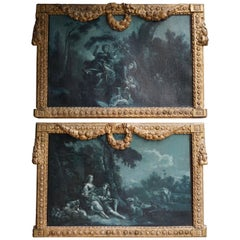 Very Fine and Rare Pair of Night Blue Grisaille Paintings, France, circa 1775