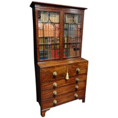 Magnificent Inlaid Regency Secretaire Bookcase