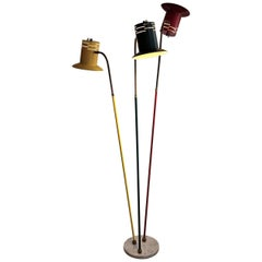Lumen Mid Century Modern Red Green and Yellow Floor Lamp