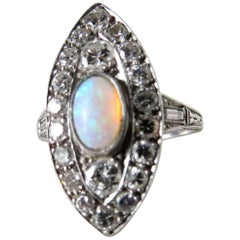 Opal and Diamond Art Deco Ring, circa 1930s