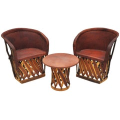 Table and Pair of Mexican Pigskin Chairs