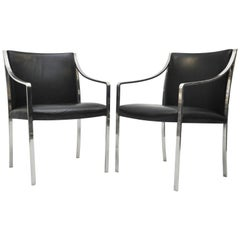Pair of Stow Davis Chairs in Black Leather