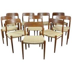 Niels Otto Møller Model 75 Teak Dining Chairs