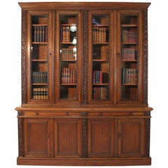 Victorian Ivy Leaf Carved Oak Library Bookcase, English, 19th Century