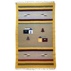 Yellow Color Handmade Wool Navajo Rug or Carpet, 1920s