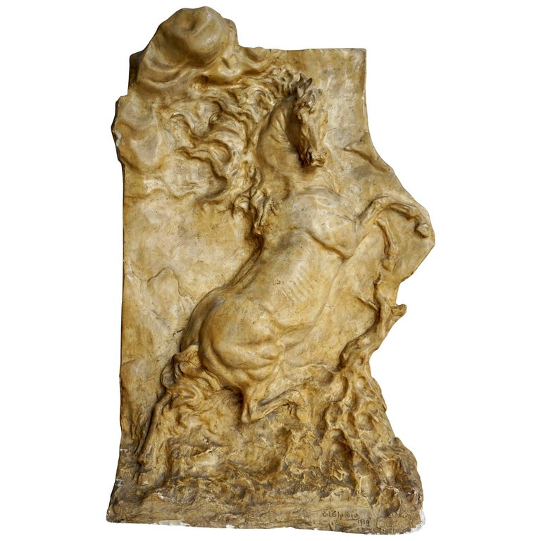 Rearing Horse, Original and Unique Plaster Model Used for a Cast in Bronze