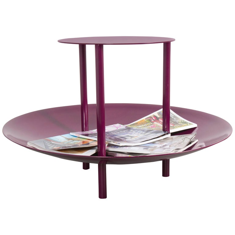 Powder-Coated Magazine Table and Catchall Deep Plum