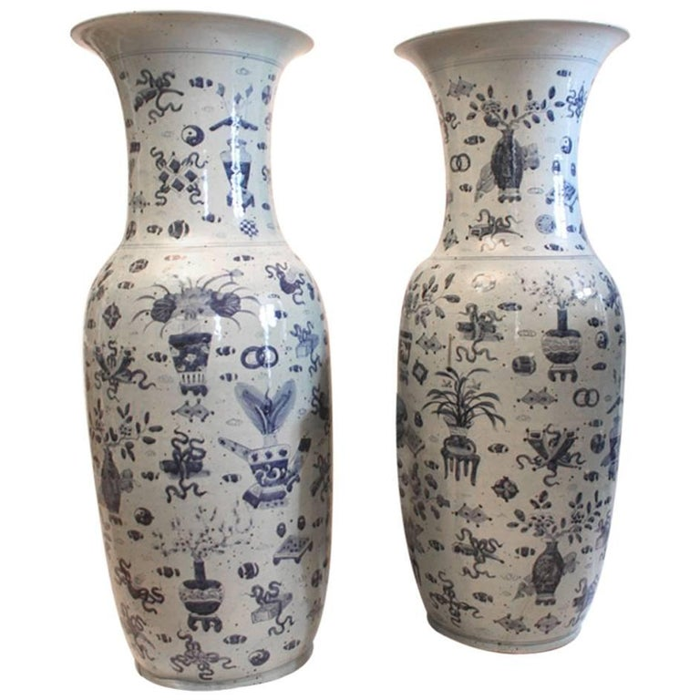 Large Pair Of Late Qing Dynasty Floor Vases For Sale At 1stdibs