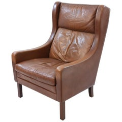 Borge Mogensen Style Cognac Colored Leather Wingback Chair