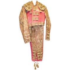 Mid-20th Century Folk-Art Gold and Pink Silk Spanish Matador Costume