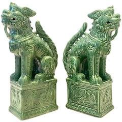 Pair of Contemporary Large Ceramic Glaze Foo Dog Sculpture
