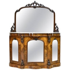 19th Century English Victorian Burl Walnut Console w/ White Marble Top & Mirror