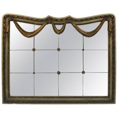 Art Deco Style Mirror with Divided Mirror Panels, Rosettes, and Swag Motif