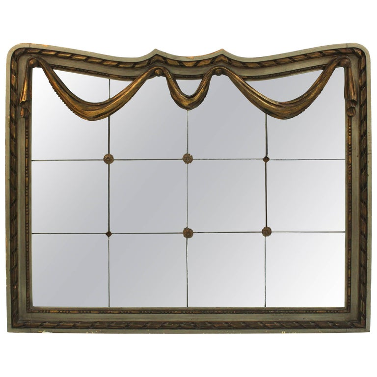Art Deco Wall Panels: Art Deco Style Mirror With Divided Mirror Panels, Rosettes