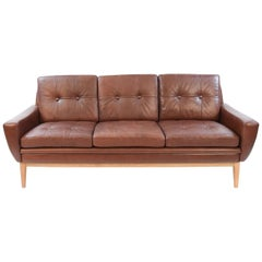 Svend Skipper Danish Midcentury Leather Three-Seat Sofa