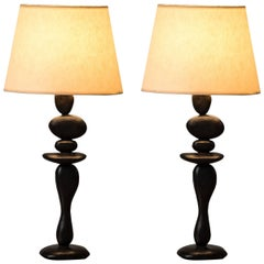 "Bronze Table Lamps by Jacques Jarrige ""Pebbles"""