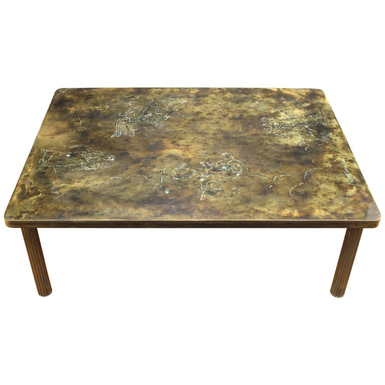 Kelvin LaVerne Rectangular Table with Zodiac Motif in Acid Etched Bronze