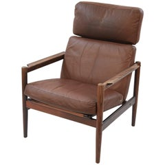 Arne Vodder Style Leather and Rosewood High Back Lounge Chair