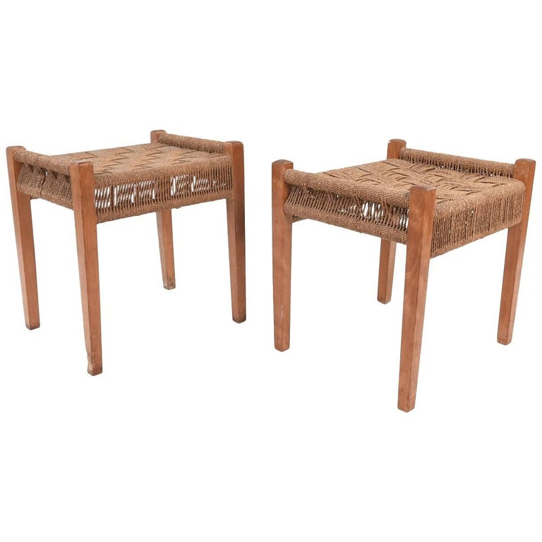 Pair of Danish Midcentury Fritz Hansen Papercord and Beech Stools For Sale