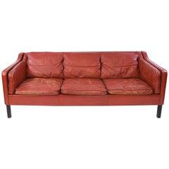 Danish Midcentury Børge Mogensen Style Red Leather Three-Seat Sofa