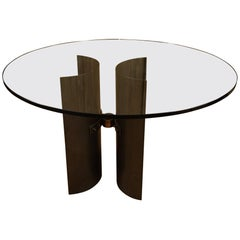 Brutalist Glass Top Table