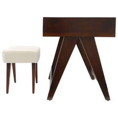 Pierre Jeanneret Desk and Stool from Chandigarh