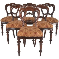 Balloon Back Dining Chairs Victorian Antique Walnut, Set of Six  REDUCED!!!