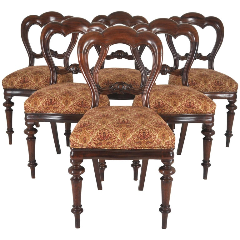 Balloon Back Dining Chairs Victorian Antique Mahogany, Set of Six For Sale - Balloon Back Dining Chairs Victorian Antique Mahogany, Set Of Six