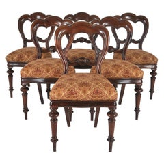 Balloon Back Dining Chairs Victorian Antique Walnut, Set of Six