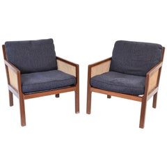 Pair of Bernt Petersen #215 Wørts for Rud Rasmussen Mahogany Easy Chairs