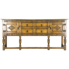 Antique Sideboard Carved Oak Chiffonier Tudor Buffet Scotland, 1930