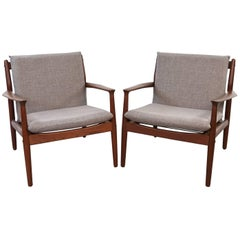 Pair of Grete Jalk for France & Søn Model #128 Teak Easy Chairs, Denmark, 1963