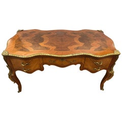 French Louis XV Writing Desk Bureau Plat with Parquetry and Bronze Ormolu Mounts
