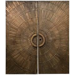 Double-Sided Architectural Bronze Brutalist Sunburst Doors